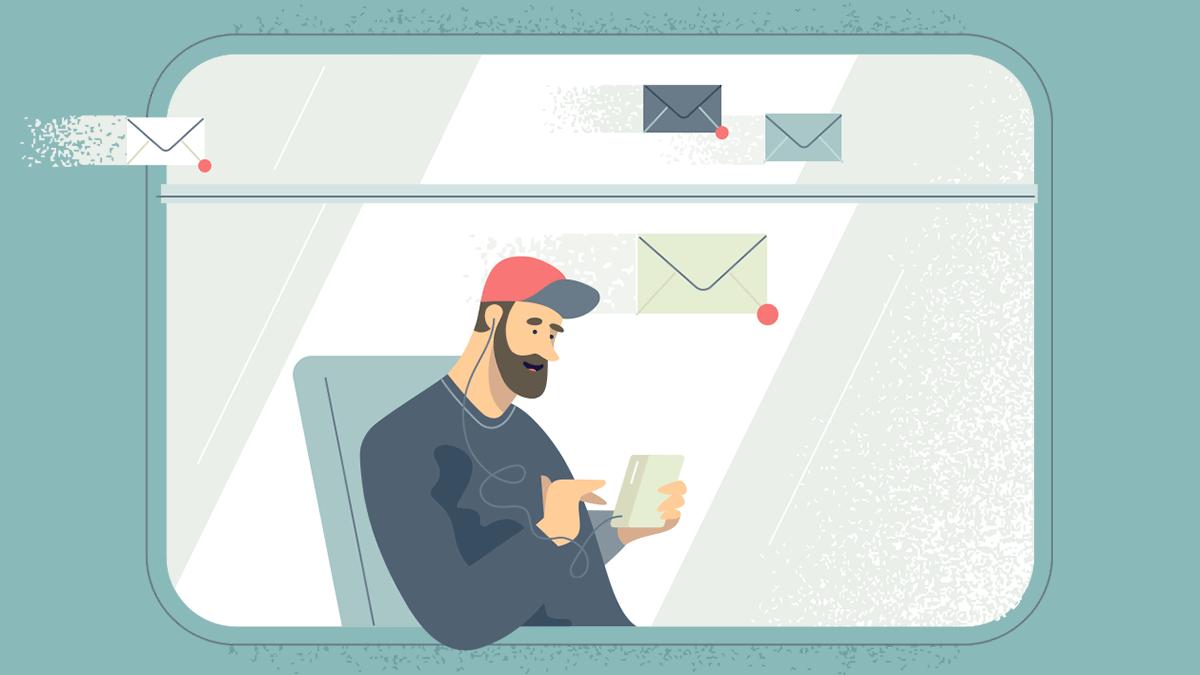 ilustração de pessoa utilizando o Yandex Mail no smartphone